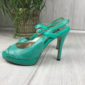 White House Black Market aqua green leather heels
